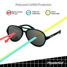 Load image into Gallery viewer, Aviator Black Polarized Sunglasses - 0-2Y