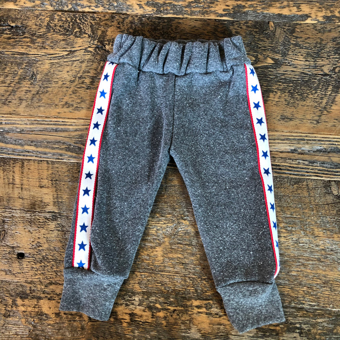 Wee Monster - Grey Joggers W/ Red/White/Blue Stars