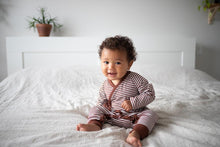 Load image into Gallery viewer, Haven Kids Bamboo Kimono Romper - Redwood Stripes