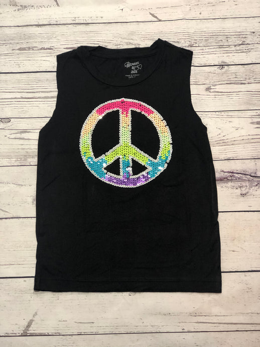 Flowers By Zoe - Neon Sequin Peace Tank Top - Black