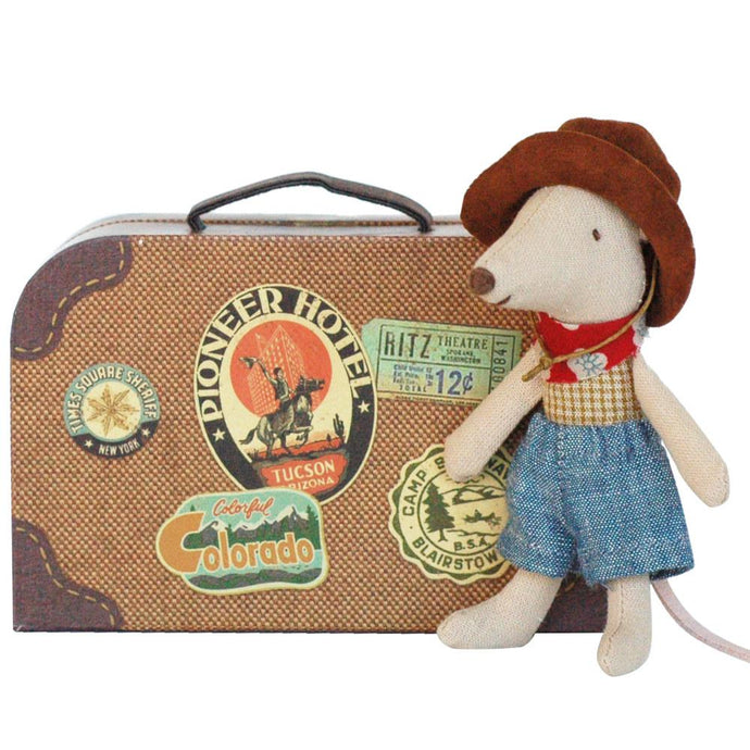 Maileg - Cowboy in a Suitcase - Little Brother Mouse