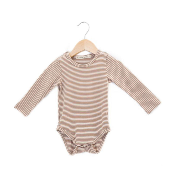 Haves Kids Bamboo Crew Neck Onesie - Acorn Stripes