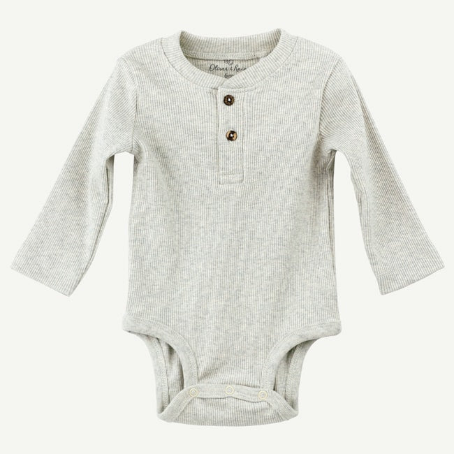 Oliver & Rain Organic Oatmeal Bodysuit with Knit Collar