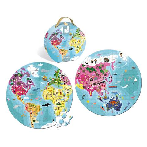 Janod - Hat Boxed Double Sided Puzzle - Our Beautiful Planet