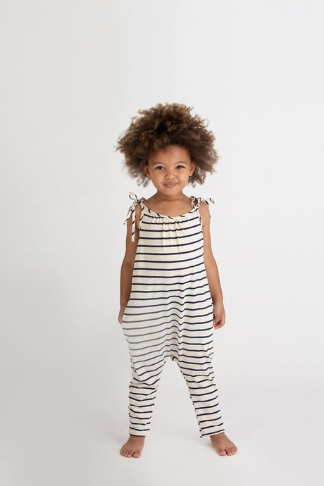 Go Gently Nation - Organic Jersey Jumpsuit - Navy Stripe