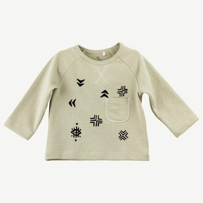 Olive & Rain Organic Khaki LS Graphic Tee/Infant