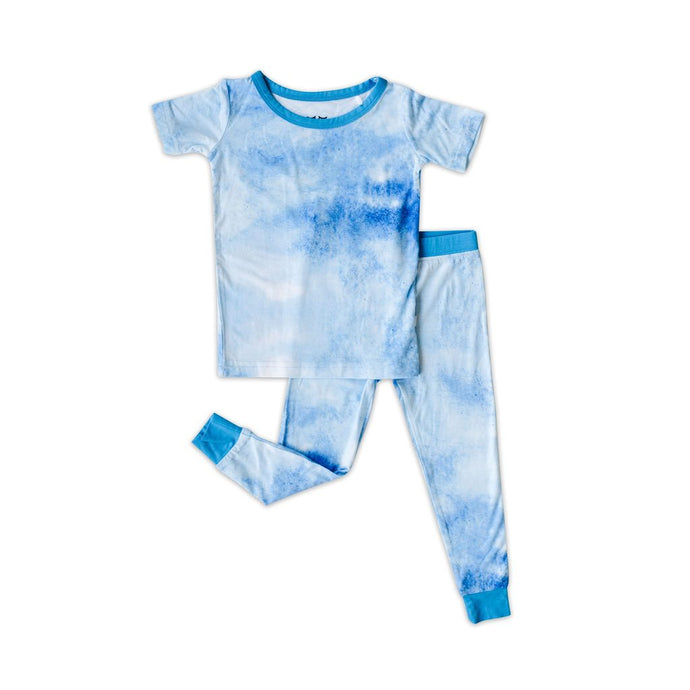 Little Sleepies - Blue Watercolor Two-Piece Short Sleeve Pajama Set