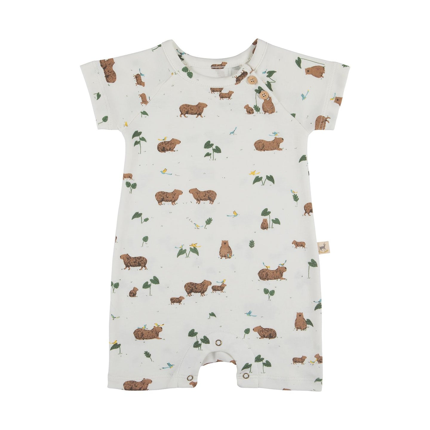 Red Caribou Organic Short Sleeve Jumpsuit - Pally Capybara