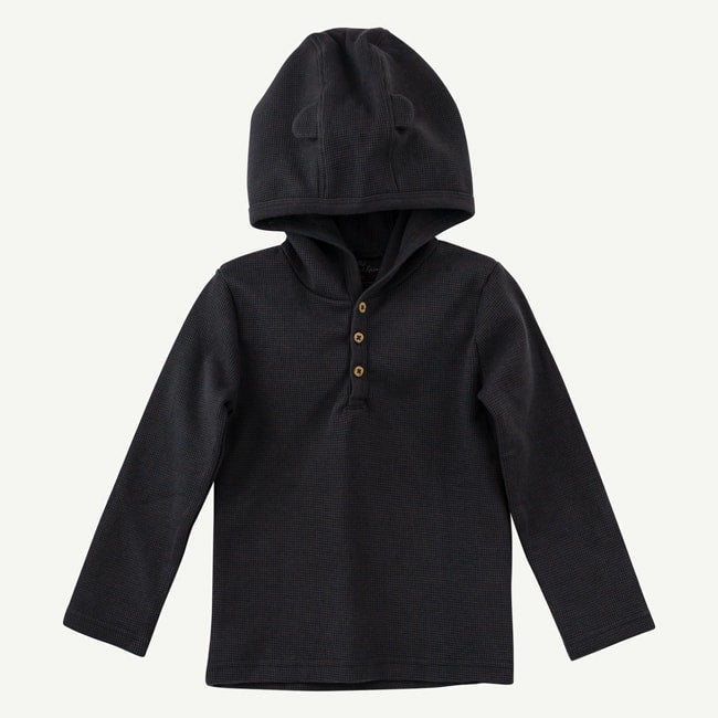 Oliver & Rain Organic Hooded Charcoal Bodysuit with Bear Ears