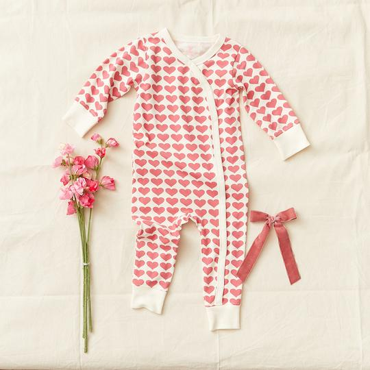 Pink Chicken - Organic Romper - Rapture Rose Hearts