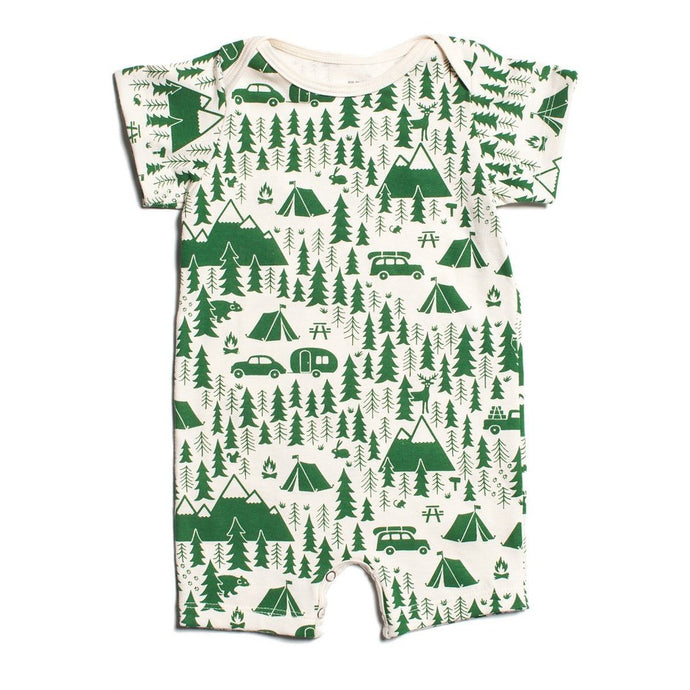 Winter Water Factory Organic Summer Romper - Campground Green