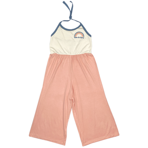 Take It Easy Jumpsuit - Coral/Natural