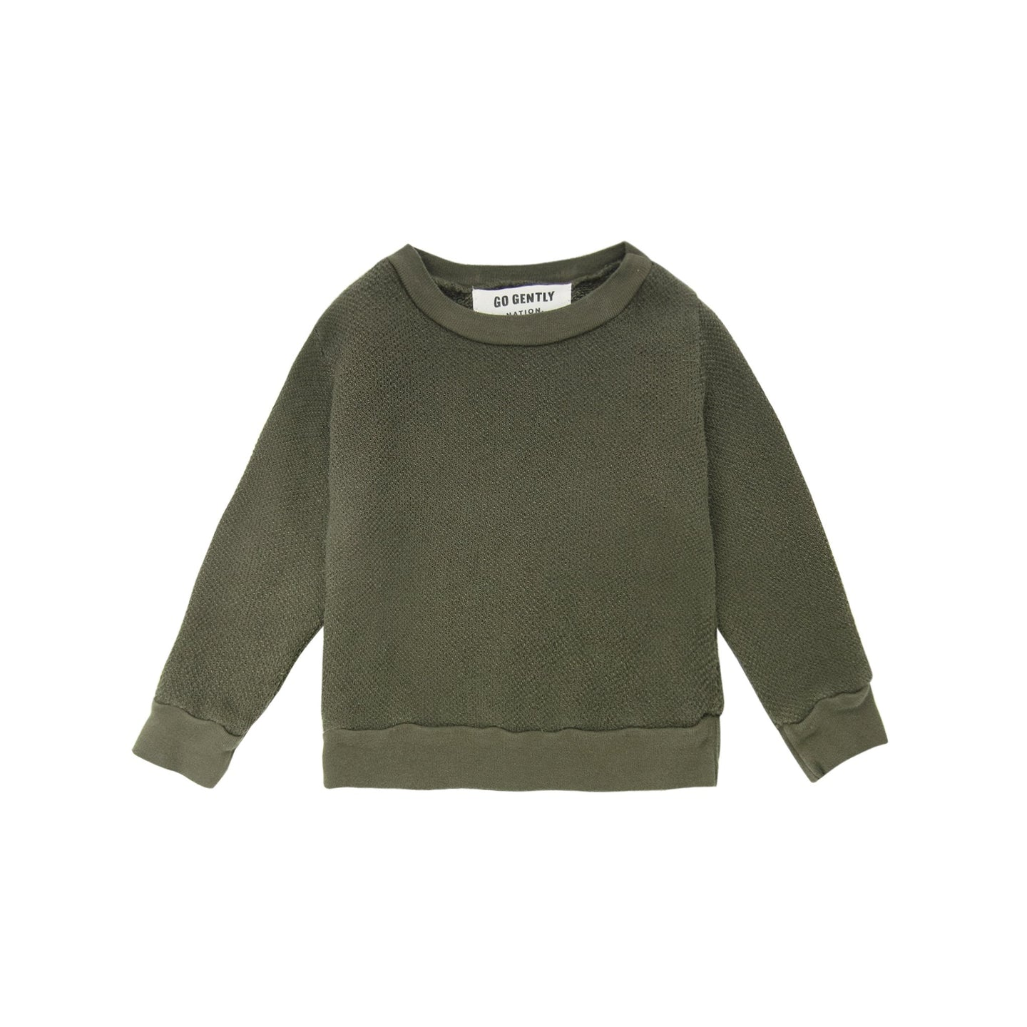 Go Gently Nation - Organic Textured Crewneck Infant - Moss