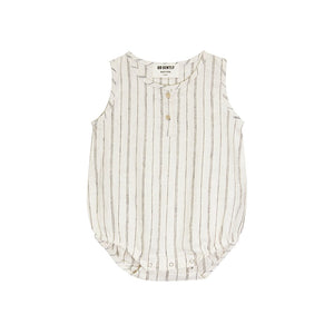 Go Gently Nation - Woven Tank Onesie - Natural/Black Stripe