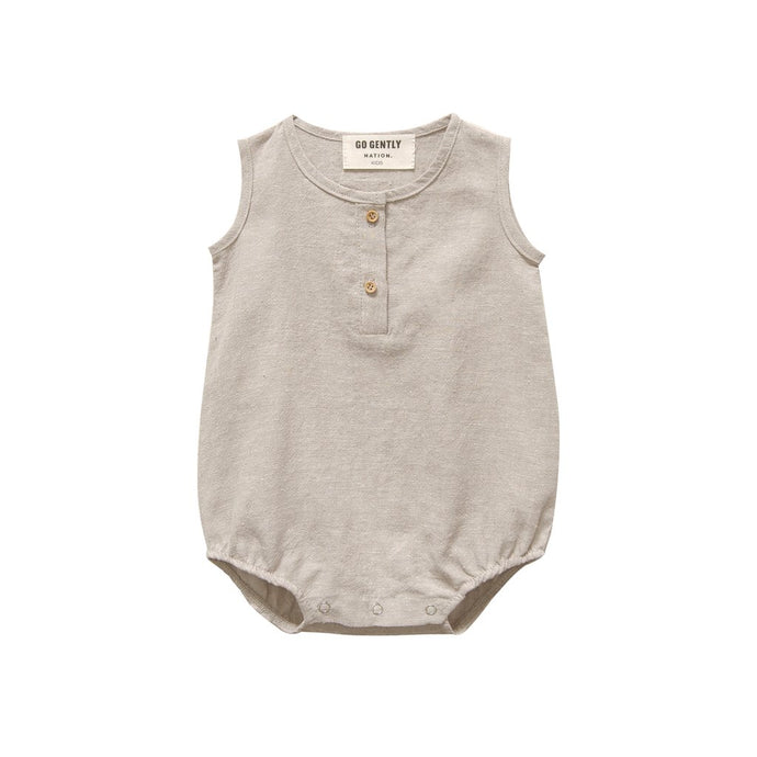 Go Gently Nation - Organic Woven Tank Onesie - Wheat