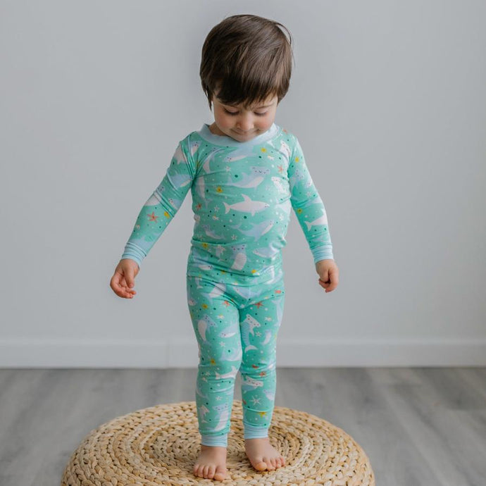 Little Sleepies - Shark Soiree Two-Piece Bamboo Viscose Pajama Set