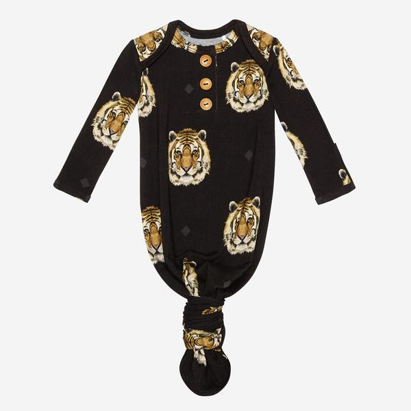 Posh Peanut - Mateo - Wood Button Knotted Gown 0-3M