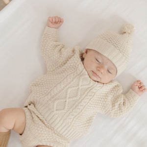 Quincy Mae - Organic Cable Knit Sweater - Pebble