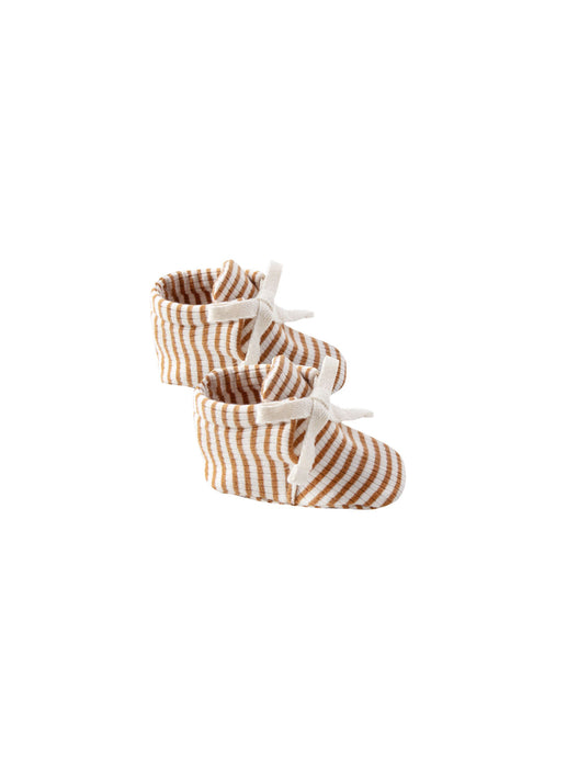 Quioncy Mae - Organic Ribbed Baby Booties - Walnut Stripe