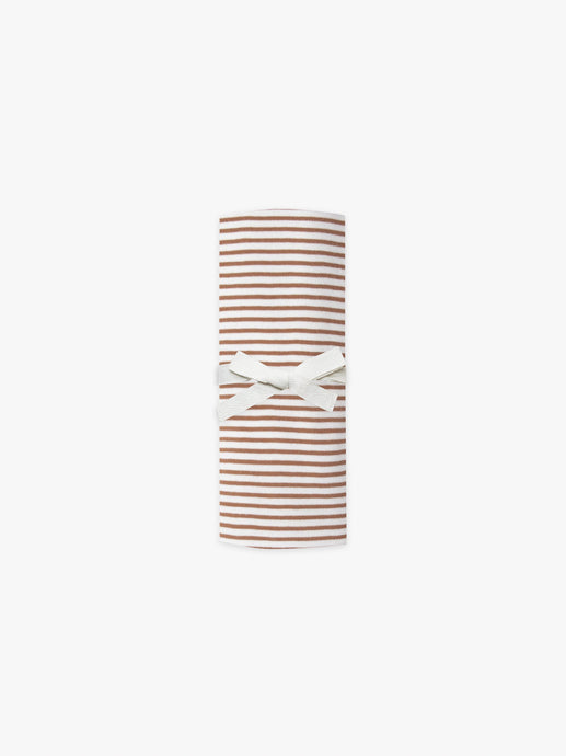 Quincy Mae - Organic Brushed Jersey Baby Swaddle - Rust Stripe