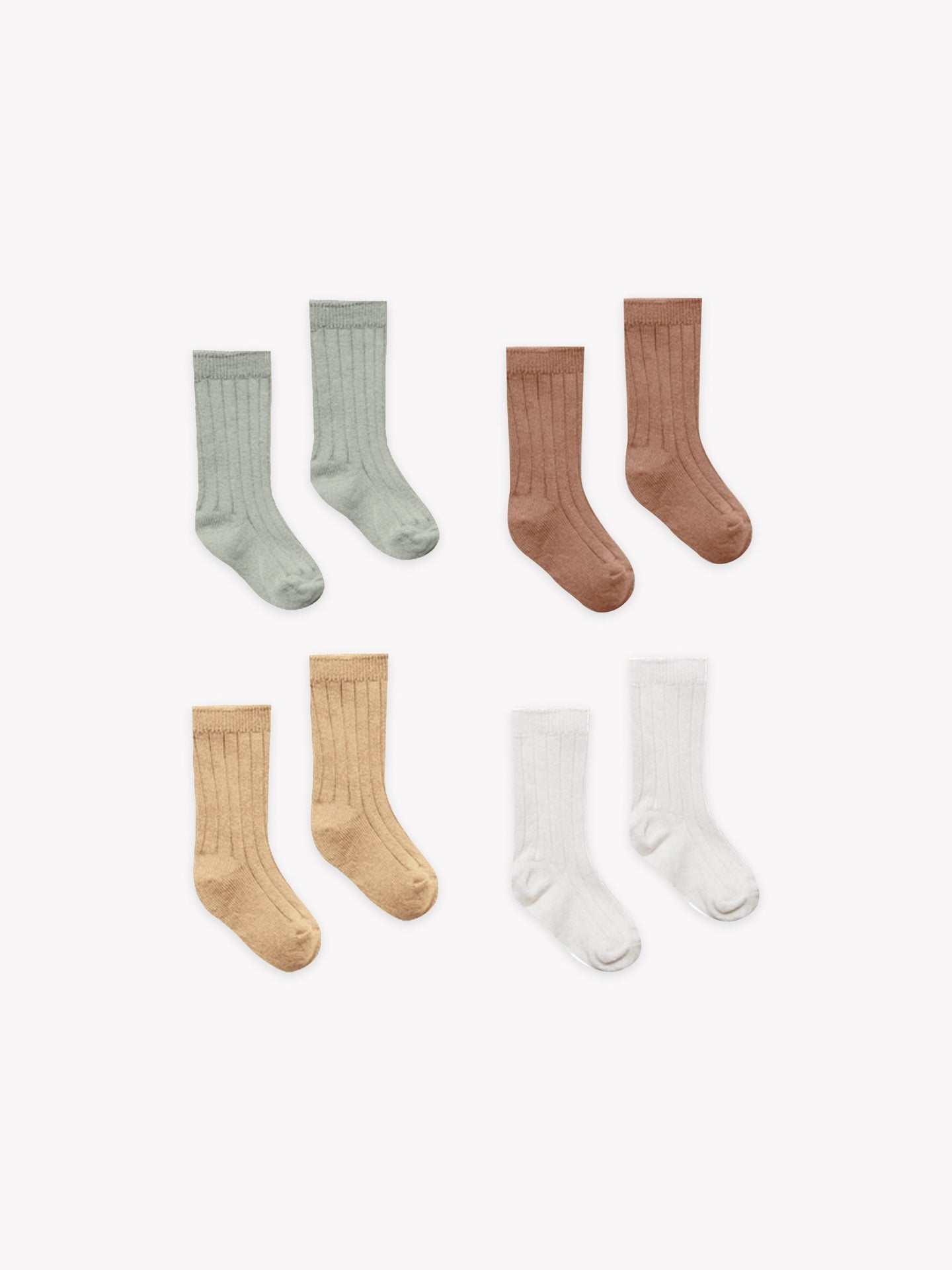 Quincy Mae - Organic Socks 4 Pack Set - SAGE, CLAY, HONEY, IVORY