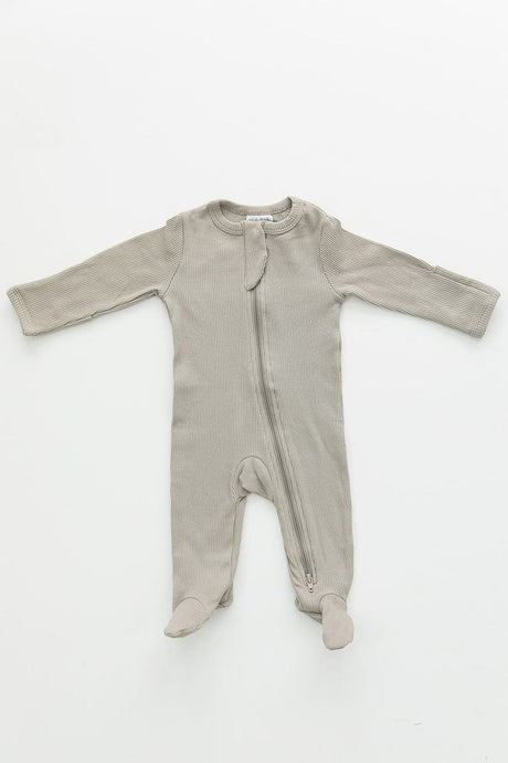 Mebie Baby - Sagebrush Organic Cotton Ribbed Footed Zipper One-Piece
