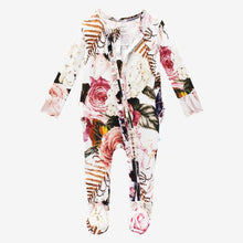 Load image into Gallery viewer, Posh Peanut - Black Rose - Ruffled Zippered One Piece
