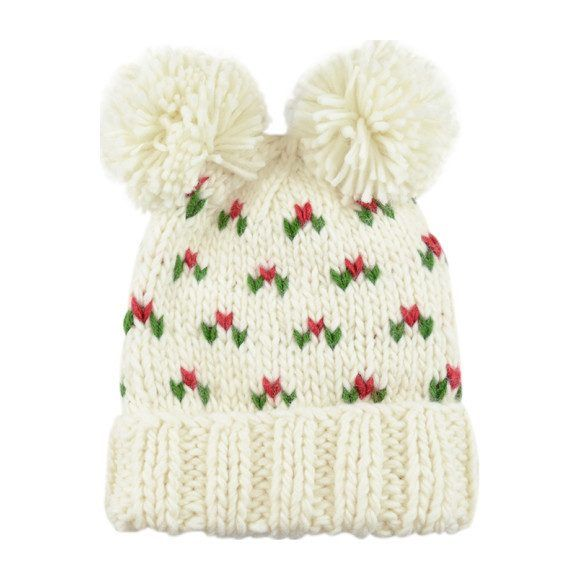 The Blueberry Hill - Cream Holly Hat with Poms