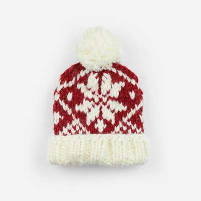 The Blueberry Hill - Red Snowflake Knit Hat