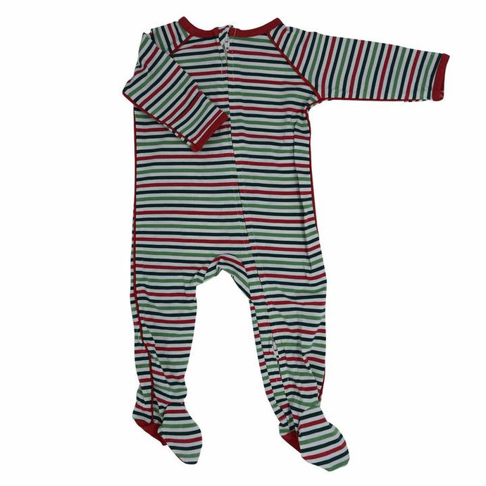 Sweet Bamboo - Bamboo Piped Zipper Footie - Christmas Stripes