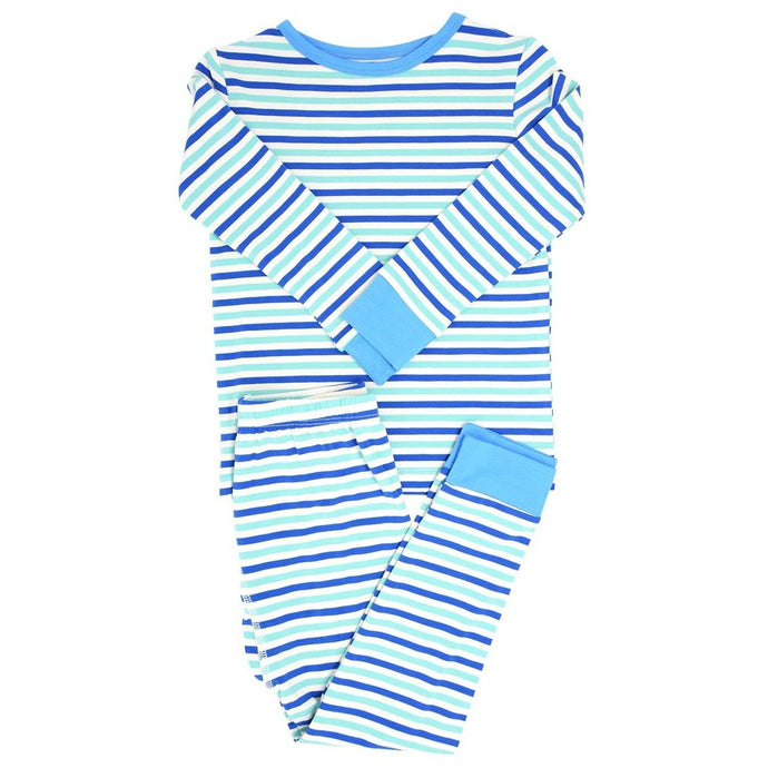Sweet Bamboo - Big Kid Pj's Long Sleeve Top/Long Bottom - Blue & Aqua Stripe