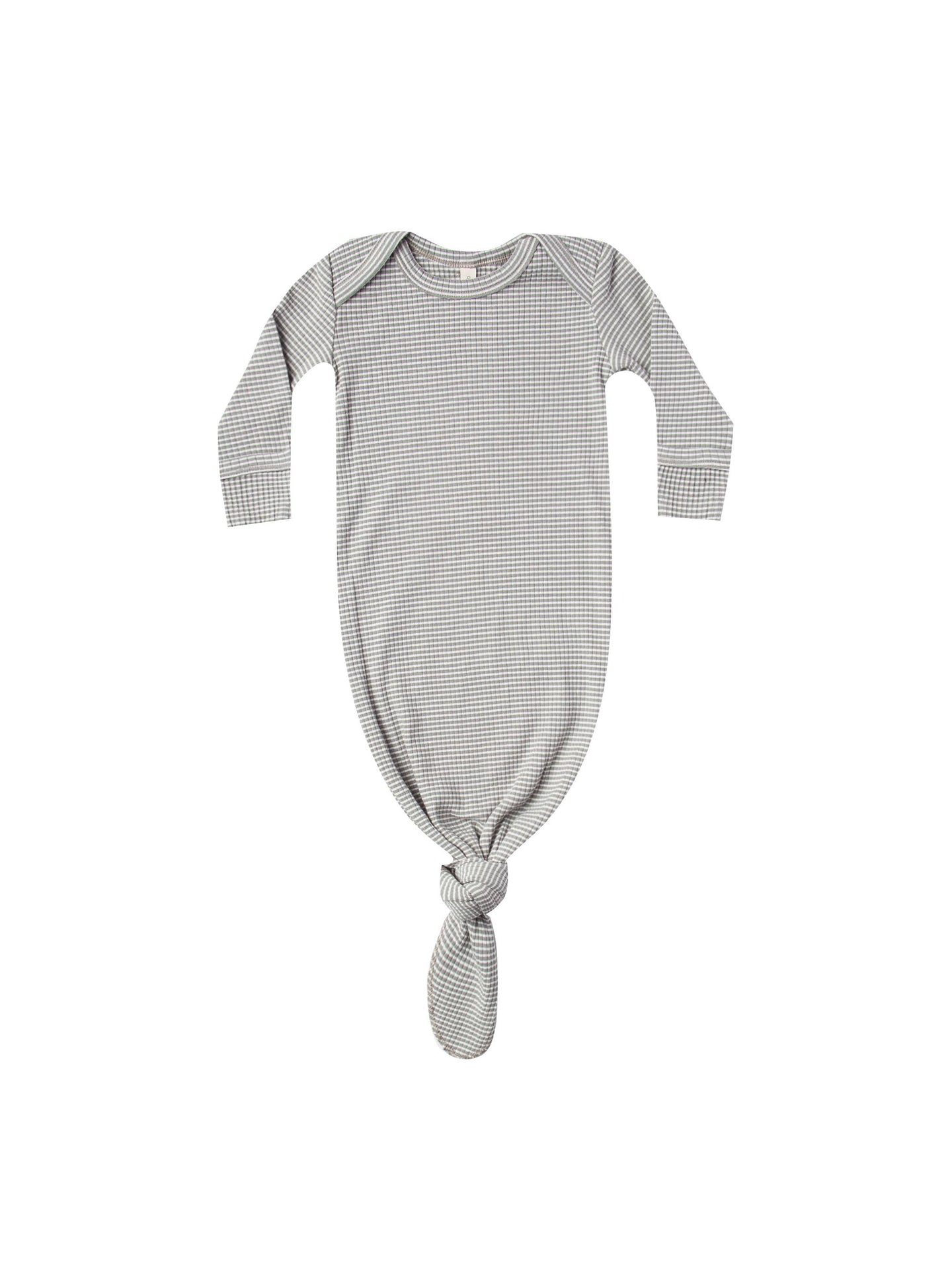 Quincy Mae - Organic Ribbed Knotted Baby Gown - Eucalyptus Stripe