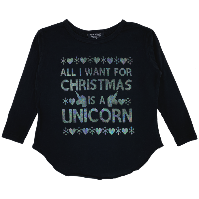 Tiny Whales - Christmas Unicorn LS Tee - Black
