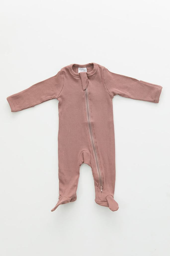 Mebie Baby - Dusty Rose Organic Cotton Ribbed Footed Zipper One-Piece