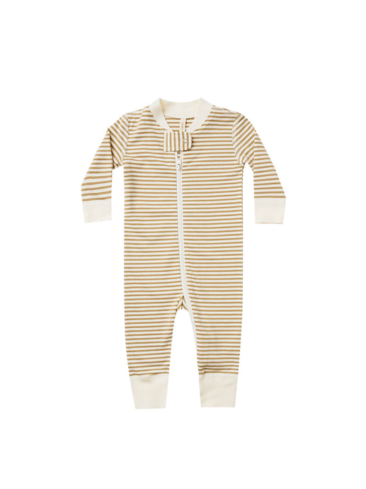 Quincy Mae - Zip Longsleeve Sleeper - Gold Stripe