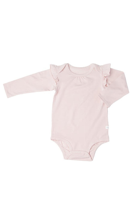 Loulou Lollipop - Girl's Long Sleeve Bodysuit in TENCEL - Sepia Rose