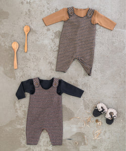 Play Up - Organic Cotton Striped Dungarees - Cherry Tree