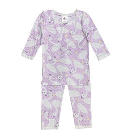 Esme - Girls 3/4 Sleeve Top/Leggings Pajamas - Lavender Swan