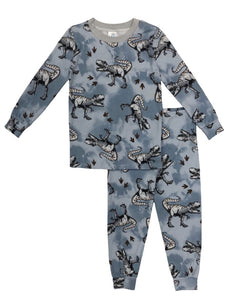 Esme - Tween Boys LS Crew Neck Full Length Set - Blue Dinosaur