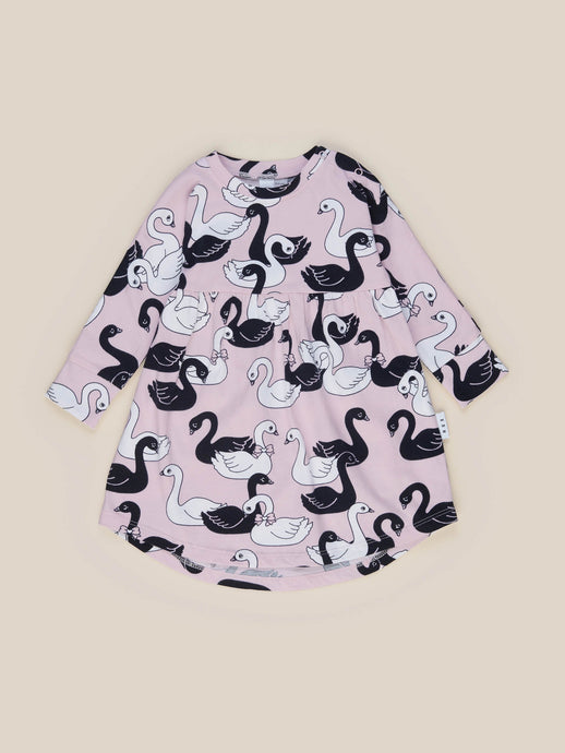 Organic Swan Lake Long Sleeve Swirl Dress - Fairy Floss