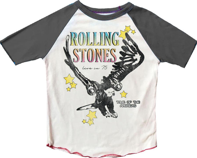 Rowdy Sprout - Rolling Stones Raglan Tee - Cream / Off Black