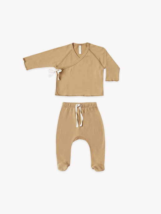 Quincy Mae - Organic Kimono Top + Footed Pant Set - Honey