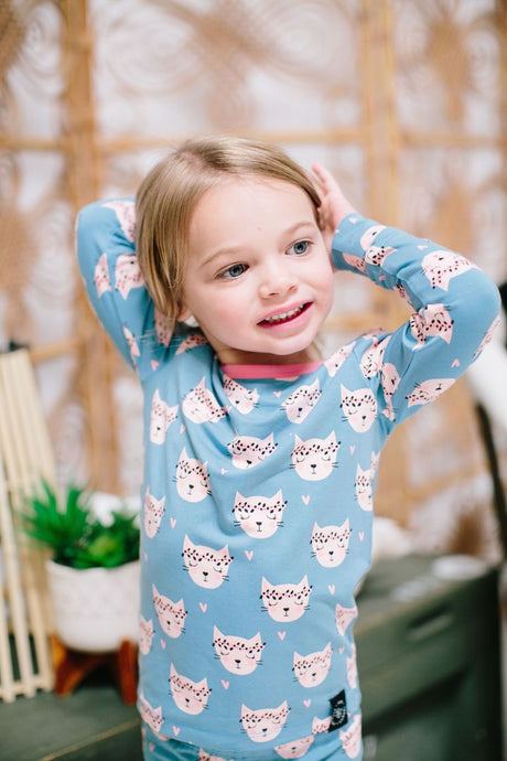 Big Kid Pj's Long Sleeve Top & Bottom - Hippie Kitty