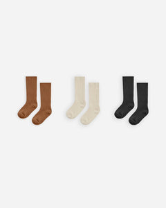 Rylee + Cru - Knee Sock Set of Three - Cinnamon /Natural / Black