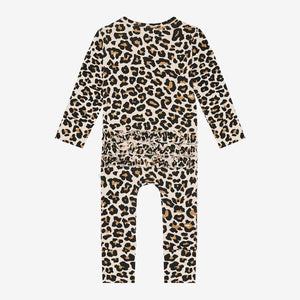Posh Peanut - Lana Leopard Tan - Long Sleeve Ruffled Romper