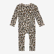Load image into Gallery viewer, Posh Peanut - Lana Leopard Tan - Long Sleeve Ruffled Romper