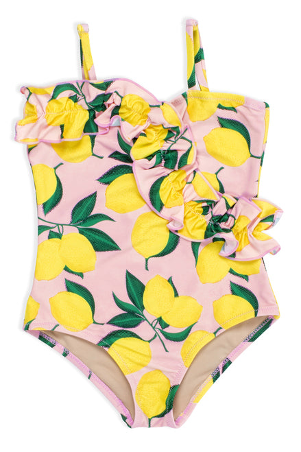 Shade Critters - One Piece Ruffle Front Lemons Suit - Pink/Yellow