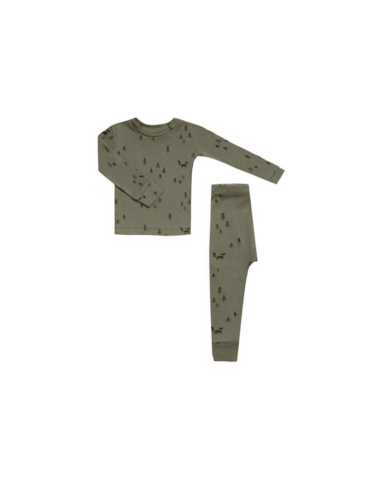 Rylee + Cru - Organic Woods Pajama Set - Light Forest