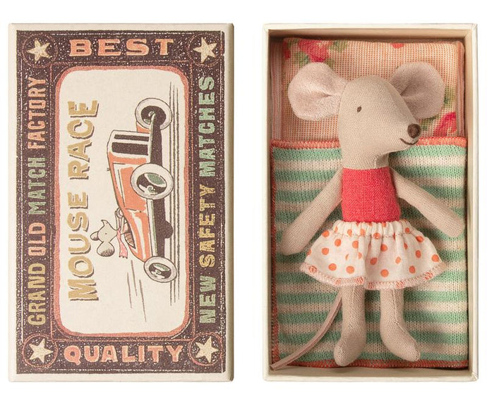 Maileg - Little Sister Mouse in a Matchbox (Aqua)