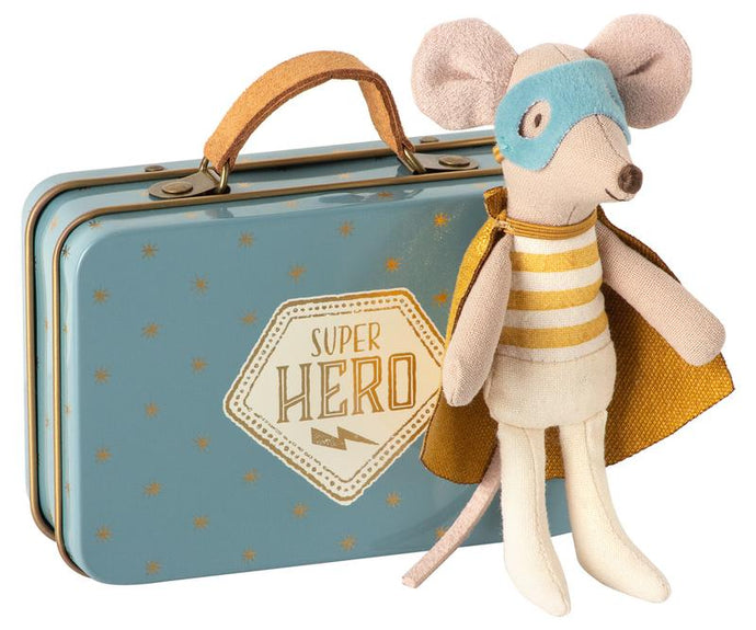 Maileg - Superhero Mouse - Little Brother in Suitcase
